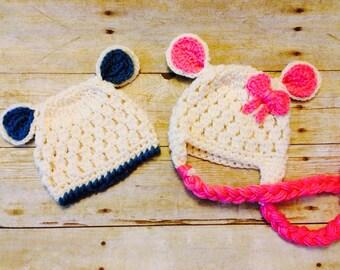Crochet baby lamb hat set, twins, newborn prop, photo prop, baby twin set, baby prop, baby shower gift, lamb beanie