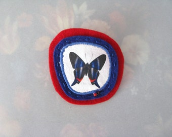 blue and red butterfly brooch -minimal pin broach - blue garden butterfly pin brooch - red and blue felt brooch pin - gift for her