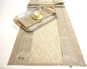 Very chic and modern dining table runner, long wedding table décor with silk stripes, modern style cord embroidery and rhinestone cubes