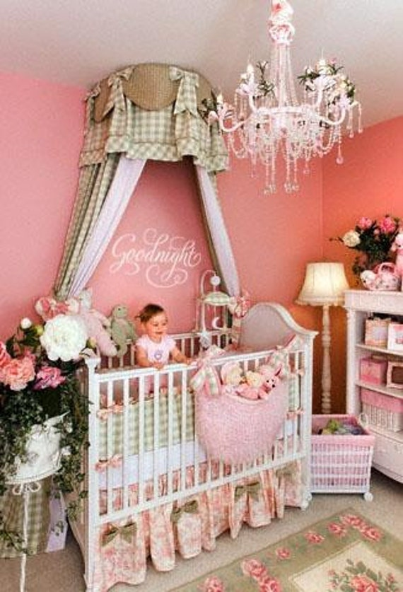 Baby Canopy For Bedroom: Items Similar To Country Baby Toile & Plad Girl's Bedding