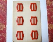 Card of 6 Red Buckles Art Deco 1930's