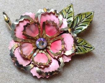 Vintage Enamel Rose Brooch