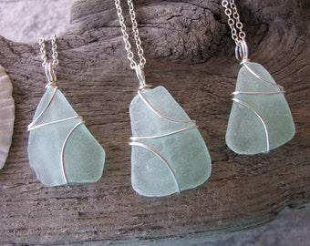 Wedding Jewelry Sea Glass Necklaces Aqua Bridesmaid Necklaces Sea Foam Green