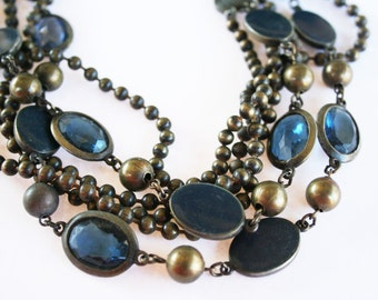 Vintage Blue Brass and Glass Necklace