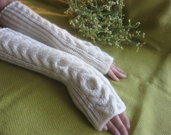 CREAM IVORY LONG Fingerless Gloves with a cable pattern