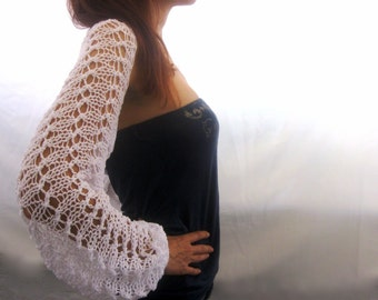 WHITE COTTON SHRUG with long sleeves  ....Elegant Hand Knitted Summer Shrug