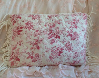 Vintage toile pillow cover quilted Toile fabric