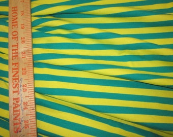 """Green and Yellow apx. 3/8"""" Cotton Lycra STripe Knit Fabric"""