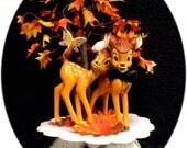 Wedding Cake Topper W/ Disney classic Bambi the Deer Fall Tree Bride groom top
