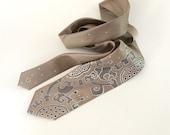 Beige necktie for men, men neck tie floral, gift for men, gift for him, personalized gift, cravat - Handpainted accessories for custom order