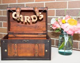 Wedding Card Trunk - Rustic Card Box - Vintage Style Trunk - Travel and Rustic - Wedding Reception Decor - Wedding Day Decor