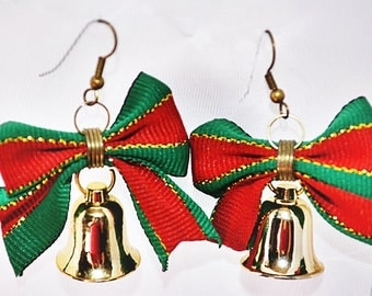 PIERCED Christmas Bow Bell Holiday Dangle Fashion Costume Recycled Earrings