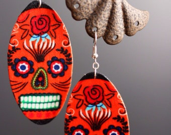 Orange Sugar skull earrings (dia de los muertos)