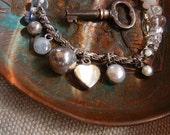 Crystal Bracelet, White Pearl, Sterling Silver Bracelet, Charm Bracelet, Repurposed Jewelry, Bohemian Bracelet