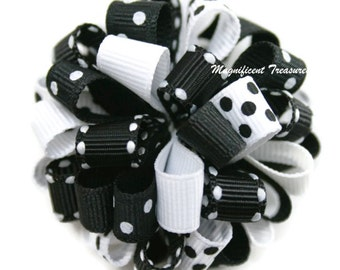 Black and White Loopy Puff Bow