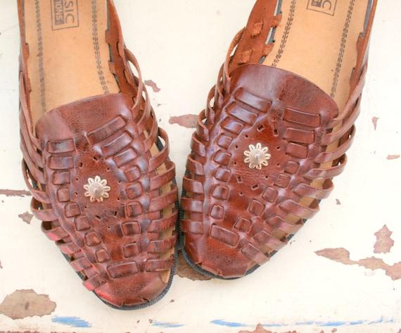 1980s Boho Sandals Size 11 Womens Boho Hippie Leather