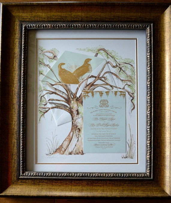 Wedding Gift Framed Art : Wedding Painting, 16x20 Framed, Art with Invitation, Wedding Gift ...