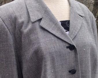 Vintage Pendleton blazer. Black and white tweed suit coat. Cropped blazer. Size 18 suit coat. Wool blend blazer.