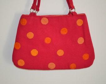 Hot Pink & Orange Polka Dot Purse Felted Handmade Large