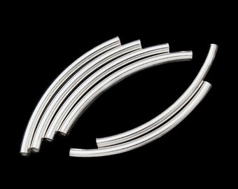 10 of 925 Sterling Silver Curve Beads 2x30 mm. :th0780