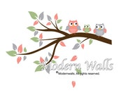 Children Wall Decals For Nursery-Branch Decal with Owls