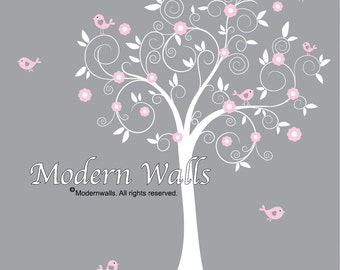 Vinyl Wall Decal Nursery Tree Decal Bird Tree Nursery-e48
