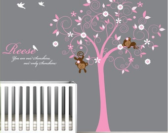 Children Wall Decal Girls Nursery Wall Stickers Monkey wall decal