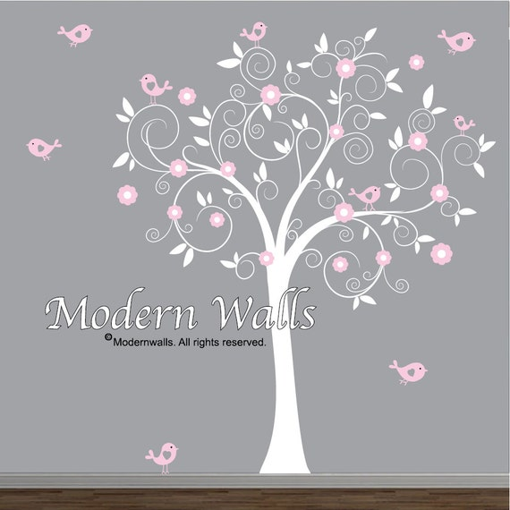 Vinyl Wall Decal Nursery Tree Decal Bird Tree Nursery