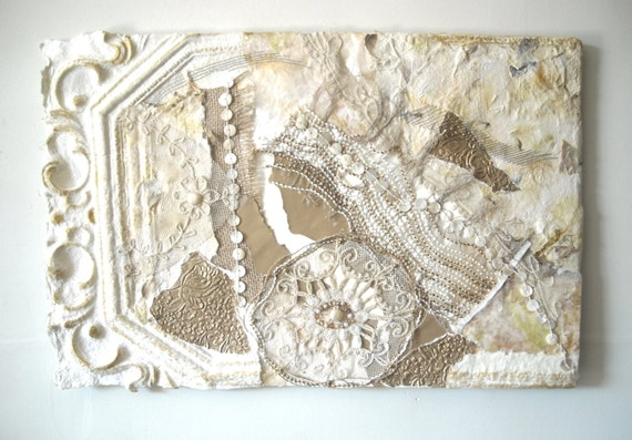 Cottage Chic Decor, White Fiber Art Work, Mixed Media Assemblage, Shabby Chic Art, Renaissance Art, Textured Wall Art, Gold Paper Collage