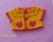 """SPECIAL PRICE Waldorf dolls Clothes: Cotton Sweater with small hearts for any 12""""-15"""" doll."""