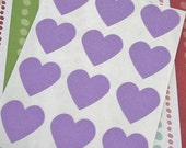 108 Heart Sticker Seals Purple 3/4 inch