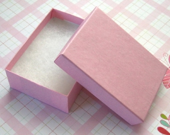 Cotton Filled Jewelry Boxes Matte Pink High Quality 3 1/8 x 2 1/4 x 1 inch - 10 Medium