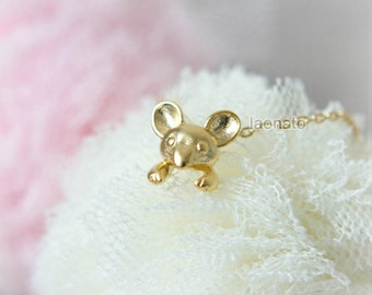Tiny Mouse Necklace / Choose your color / gold and silver