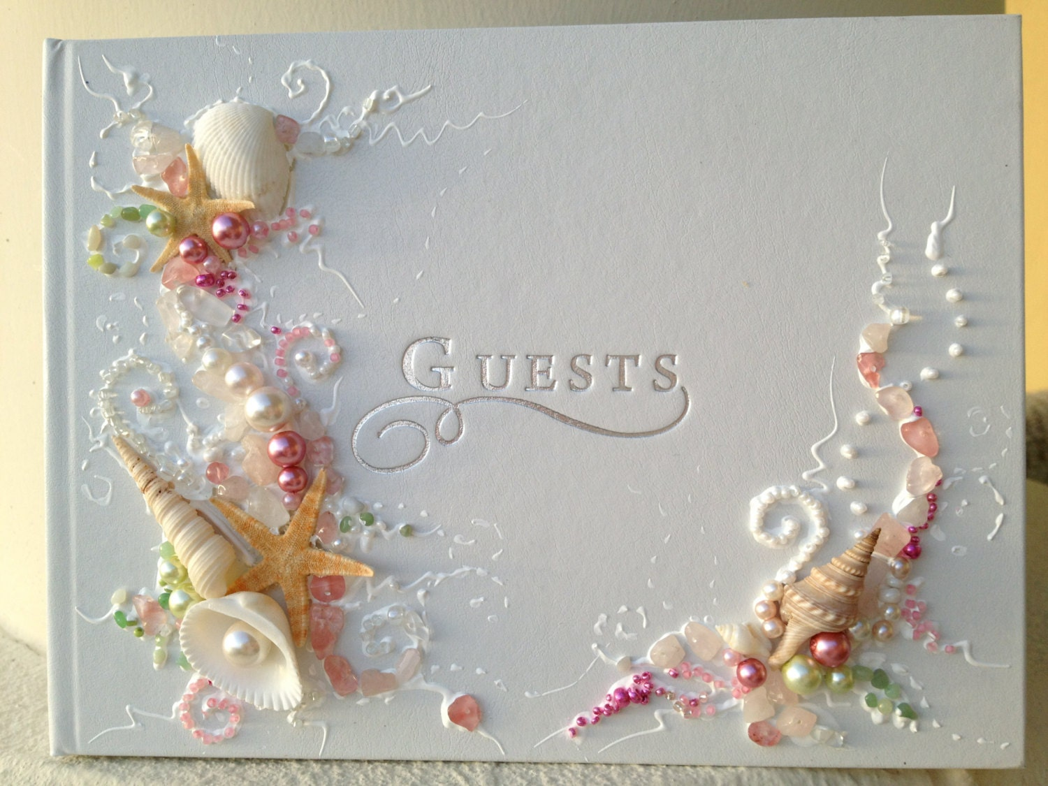 Beach Wedding Guest Book Hand Decorated With Real Starfish