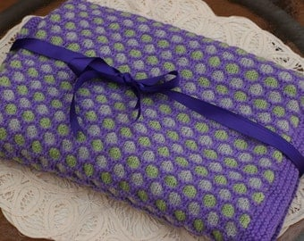 Hand Knit Baby Blanket / Honeycomb Stitch / 3 Colors / Purple  Grey Green // Gender Neutral / Very Warm/ Baby Shower Gift