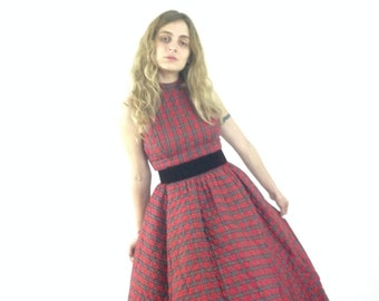50s Vintage Red Plaid Party Dress
