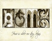 HOME Alphabet Photography Lette Art with quote (various sizes)