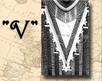 Letter V Alphabet Photography Black and White or Sepia 4 x 6 Photo Letter Unframed