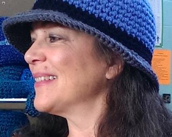 CROCHET PATTERN: Bucket Hat, Blue Grey Black Hat, Women's Bucket Hat, Crochet Hat Pattern, Winter Hat