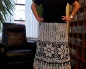 SALE!Handmade crochet long maxi  boho bohemian hippie beach white lace  womens summer wedding skirt
