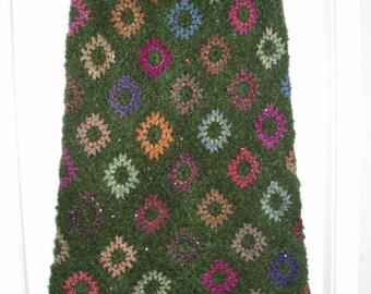 SALE Crochet 1970-s long maxi hippie bohemian festival granny square multicolor autumn flowers green skirt XL