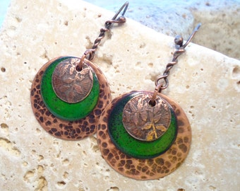 Etched Enameled Floral Green Layered Earrings