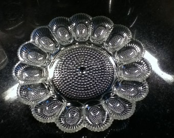 Sale 25% Off Clear Deviled Egg Plate One Thousand Eyes Hobnail by Indiana Glass CLEARANCE