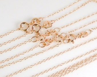 """5 pcs: rose gold vermeil 18"""" finished chain 1.3x1.5mm link, spring ring clasp, rose gold plated over sterling silver"""