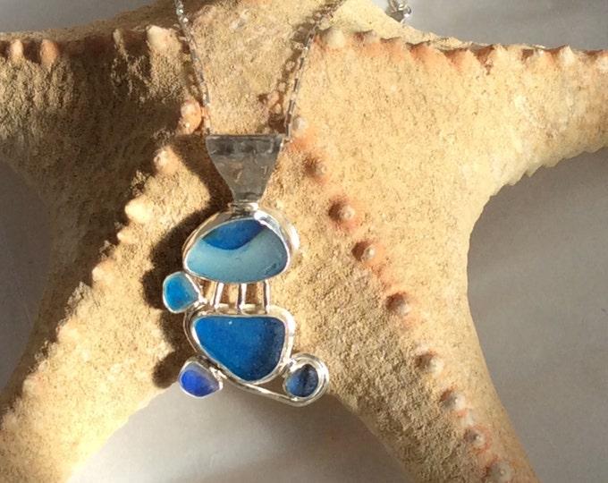 Sterling silver Multi blue sea glass pendant with Seaham beach sea glass