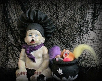 Zombie Baby Cook Comes With Black Kettle Goth Doll Horror Doll Altered Art Doll