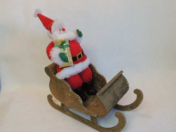 Vintage 12 Inch Felt SANTA DOLL FIGURE With Large Wood & Metal Sleigh