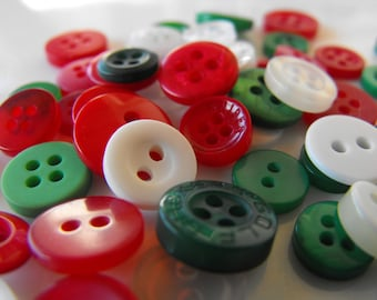 Christmas Buttons, 50 Small Assorted Round Sewing Crafting Bulk Buttons