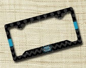 Custom Personalized License Plate Frame, Monogrammed License Plate Frame, Chevron Dots Black Turquoise Gray