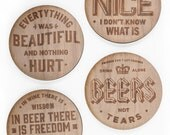 This One's On Me: Laser Etched Wooden Drink Coasters